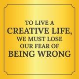 Motywacyjna wycena Żyć kreatywnie życie ilustracja wektor