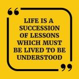 Motywacyjna wycena Życie jest następstwem lekcje royalty ilustracja