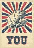 Motywacyjny plakat z ręką wskazuje przy wami lub widz słuchamy tekst Palec przy widzem, od przodu Wektorowy czarny rocznika engra Zdjęcia Stock