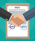 MOU memorandum of understanding handshake Stock Photos