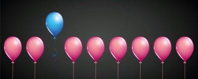 Mouche bleue de ballon à partir des ballons roses sur la conception de l'avant-projet différente de fond noir illustration libre de droits