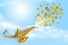 Mouche d'argent hors de la lampe magique d'Aladdin illustration libre de droits