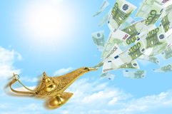 Mouche d'argent hors de la lampe magique d'Aladdin illustration de vecteur