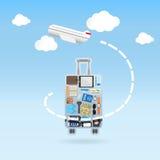 Mouche d'avion autour du concept de déplacement de forme de bagage photo libre de droits
