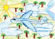 Mouche d'avion de ligne haute au-dessus de la terre, crayon de dessin d'enfant sur le papier Image stock