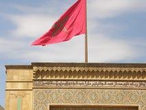 Mouche de drapeau du Maroc par le vent photo stock