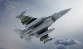 Mouche de F-16 de jet dans le ciel, avion de combat militaire américain Armée des Etats-Unis Images libres de droits