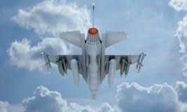 Mouche de F-16 de jet dans le ciel, avion de combat militaire américain Armée des Etats-Unis Photos stock