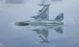 Mouche de F-16 de jet dans le ciel, avion de combat militaire américain Armée des Etats-Unis Image libre de droits