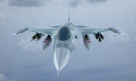 Mouche de F-16 de jet dans le ciel, avion de combat militaire américain Armée des Etats-Unis Image stock