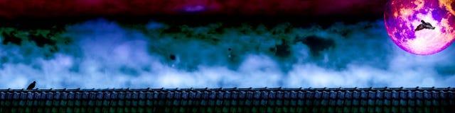 mouche de pigeon au support d'amant de pigeon sur le ciel nocturne de toit et de pleine lune Photographie stock libre de droits