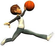 Mouche de saut de basket-ball de garçon de gosse Image libre de droits