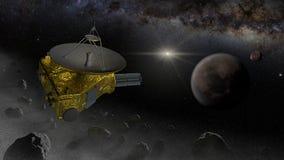 Mouche de sonde d'espace de New Horizons dans la ceinture de Kuiper Photographie stock libre de droits