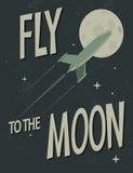 Mouche de vaisseau spatial à la lune Photos stock