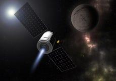 Mouche de vaisseau spatial à la planète inconnue Exploration d'espace illustr 3d illustration de vecteur
