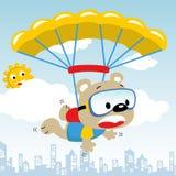 Mouche drôle de bande dessinée d'ours avec le parachute Photographie stock