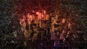 Mouche du centre d'horizon de ville de métro au-dessus d'antenne (boucle) illustration de vecteur