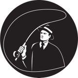 Mouche Rod Circle Retro de Suit Tie Casting de truand illustration libre de droits