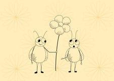 Mouches et fleur illustration libre de droits