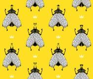 Mouches sur le fond jaune Photos libres de droits