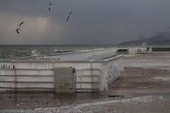 Mouettes au-dessus de mer orageuse près d'un quai Photographie stock libre de droits
