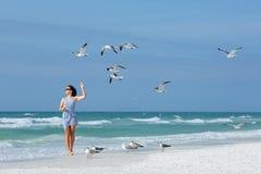 Mouettes de alimentation de jeune femme sur la plage tropicale, la Floride Photographie stock libre de droits