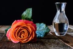 Mouillez rose sur une table en bois Photo libre de droits