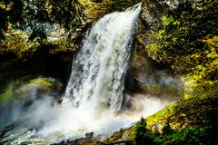 Moul Falls in Wells Gray Provincial Park, British Columbia, Canada Stock Images