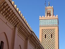 Moulay El Yazid Mosque in oude Medina van Marrakech stock foto