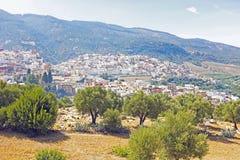 Moulay Idriss är den mest heliga staden i Marocko. Arkivbild