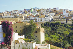 Moulay Idriss is de heiligste stad in Marokko. Stock Foto's