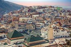 Moulay Idriss is the most holy town in Morocco at sunset. Moulay Idriss is the most holy town in Morocco. It was here that Moulay Idriss I arrived in 789 Royalty Free Stock Photo