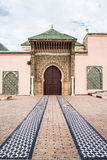 Moulay Ismail mausoleum in Meknes medina. Morocco. Main entrance of Moulay Ismail mausoleum in Mequinez medina Royalty Free Stock Images