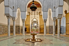 Moulay Ismail Mausoleum at Meknes, Morocco. Moulay Ismail Mausoleum interior at Meknes, Morocco Royalty Free Stock Photo