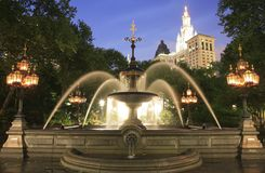 Mould Fountain. In New York City Hall Park in lower Manhattan. granite basin with semicircular pools on both sides and a central cascade Royalty Free Stock Photography