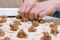 Moulding hands of pelmeni. Preparation, selective focus Royalty Free Stock Photo
