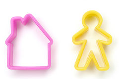 Moulds. Colorful moulds in shape of a house and man Stock Photos