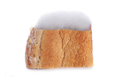 Mouldy bread. Isolated on white Royalty Free Stock Photography