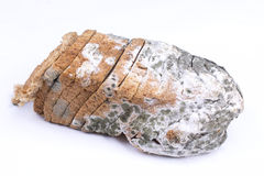 Mouldy bread. On a white background Royalty Free Stock Photo