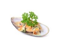 Moules de la Nouvelle Zélande cuites au four avec du fromage Image stock