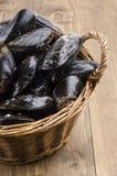 Moules fraîches et non nettoyées dans un panier en osier Image stock