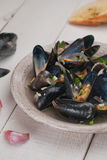 Moules Marinieres - Mussels cooked with white wine sauce Stock Photography
