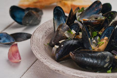 Moules Marinieres - Mussels cooked with white wine sauce Royalty Free Stock Images