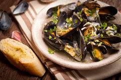 Moules Marinieres - Mussels cooked with white wine sauce Royalty Free Stock Photo