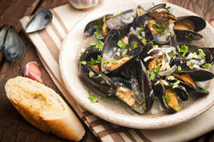 Moules Marinieres - Mussels cooked with white wine sauce Stock Image