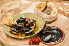 Moules Marinieres - Mussels cooked with white wine Royalty Free Stock Photos