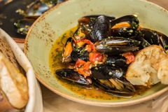 Moules Marinieres - Mussels cooked with white wine Royalty Free Stock Images