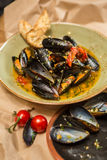 Moules Marinieres - Mussels cooked with white wine Stock Photos