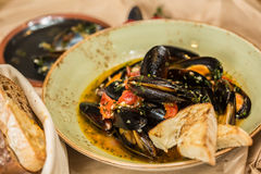 Moules Marinieres - Mussels cooked with white wine Stock Photography