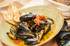 Moules Marinieres - Mussels cooked with white wine Royalty Free Stock Photography